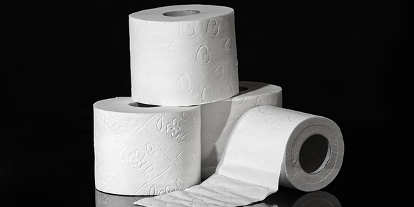 4 toilet rolls stacked on top of each other