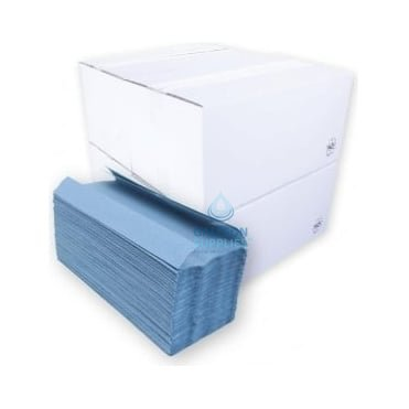 BUNDLE OFFER : £11.00 PER CASE - FREE DELIVERY - 1 Ply - Blue - C-Fold - Paper Hand Towels
