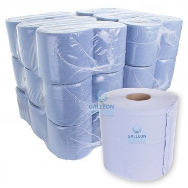 BUNDLE OFFER : £6.25 PER CASE - FREE DELIVERY - Value 2 Ply Blue Centrefeed Rolls