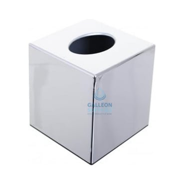 Cubed Tissue Box Cover - Polished Chrome