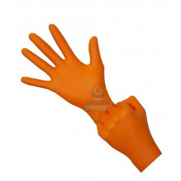 Ignite Heavy Duty Orange Nitrile Gloves