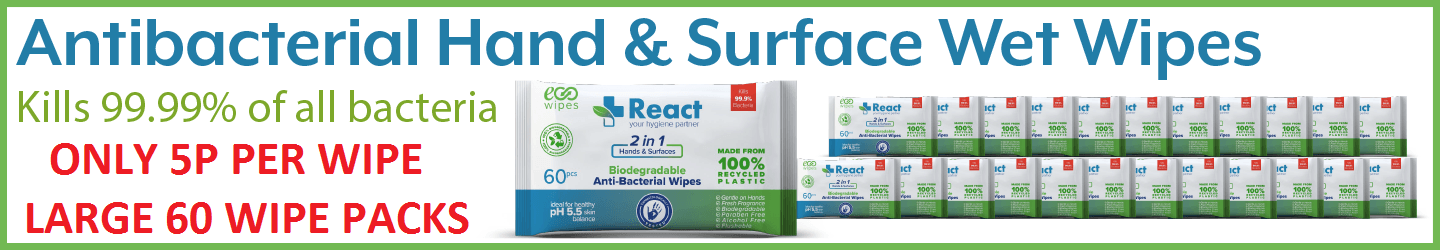REACT ANTIBACTERIAL HAND WIPES