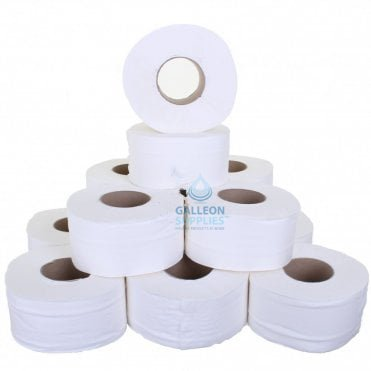 "PALLET OFFER : £5.44 PER CASE - FREE DELIVERY - Mini Jumbo Toilet Rolls - 2 Ply - Embossed - 3"" Core"