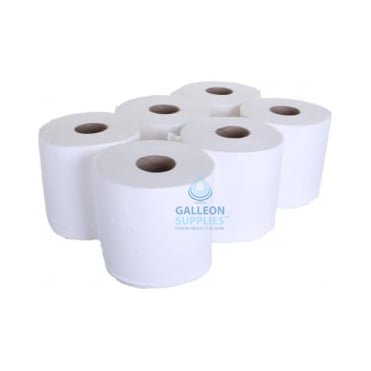 PALLET OFFER : £5.91 PER CASE - FREE DELIVERY - Embossed 2 Ply White Centrefeed Rolls