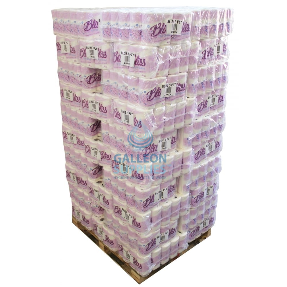 Bliss Toilet Rolls 3ply Quilted Pallet Toilet Paper