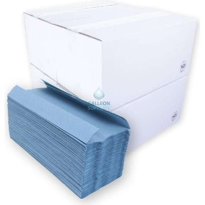Galleon Value 1 Ply - Blue - C-Fold - Paper Hand Towels - Ready Made Parcel