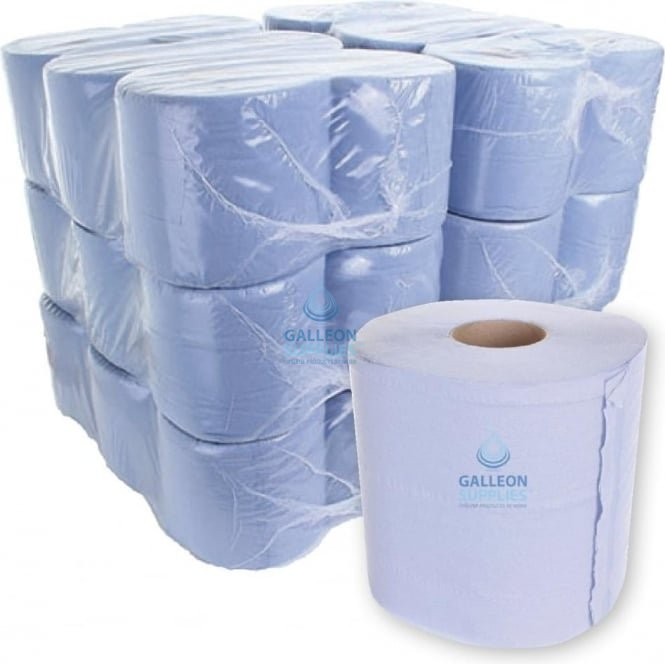 Galleon Value 2 Ply Blue Centrefeed Rolls - Ready Made Parcel