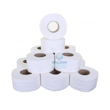 "Value Mini Jumbo Toilet Rolls - 2 Ply - Embossed - 3"" Core"