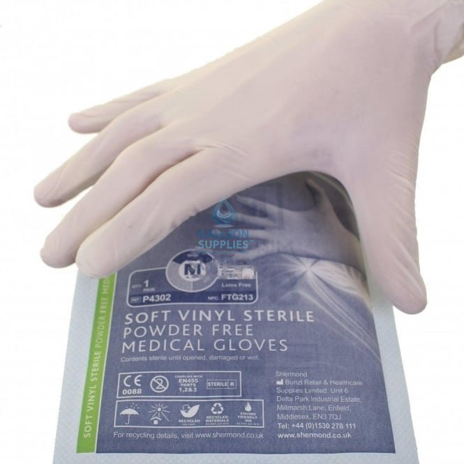 Shermond Vinyl Gloves - Sterile - Powder Free