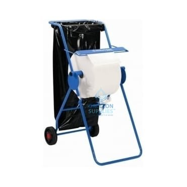 Workshop Wiper Roll Stand On Wheels With Bin Liner Holder